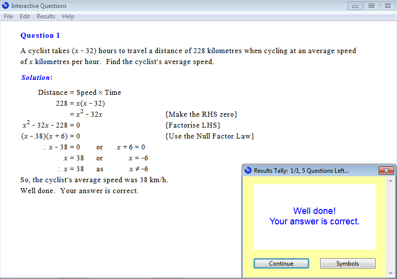 Solution for a question from Year 10 Interactive Maths, Chapter 12: Quadratic Equations, Exercise 15: Problem Solving.