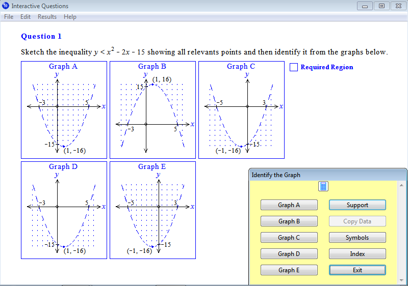 Question from Year 10 Interactive Maths, Chapter 13: Quadratic Graphs, Exercise 19: Sketching Quadratic Inequalities.