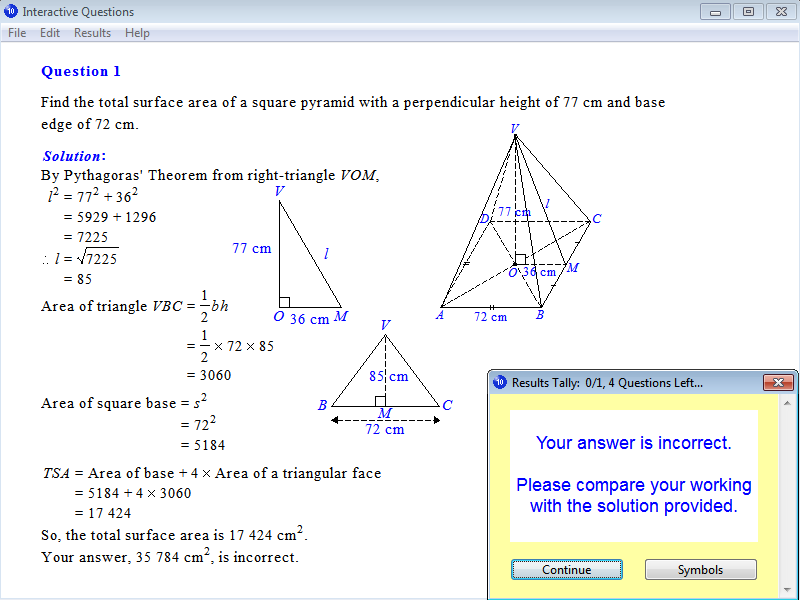 Solution for a question from Year 10 Interactive Maths, Chapter 14: Measurement, Exercise 24: Total Surface Area of a Pyramid.