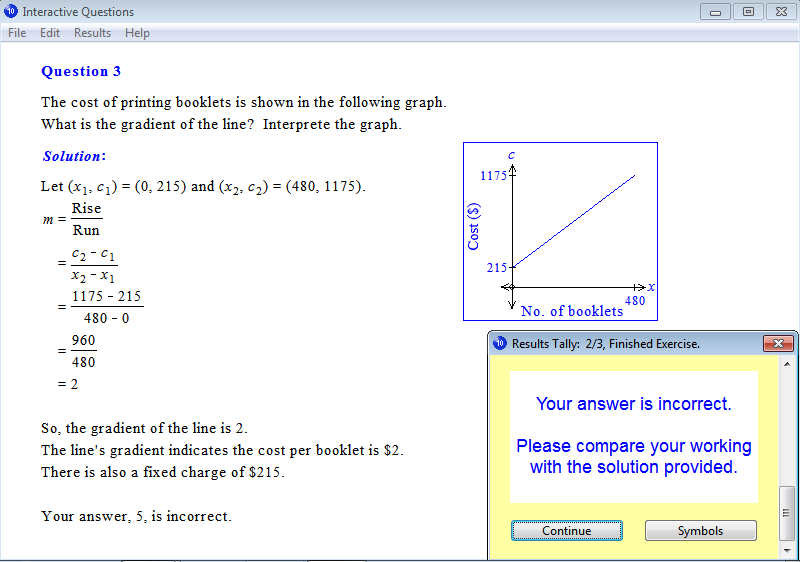 Solution for a question from Year 10 Interactive Maths, Chapter 3: Linear Graphs, Exercise 3: Applications of Gradients.
