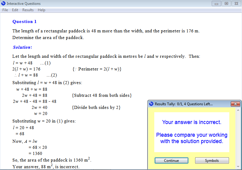 Solution for a question from Year 10 Interactive Maths, Chapter 4: Simultaneous Equations, Exercise 13: Area Problems.