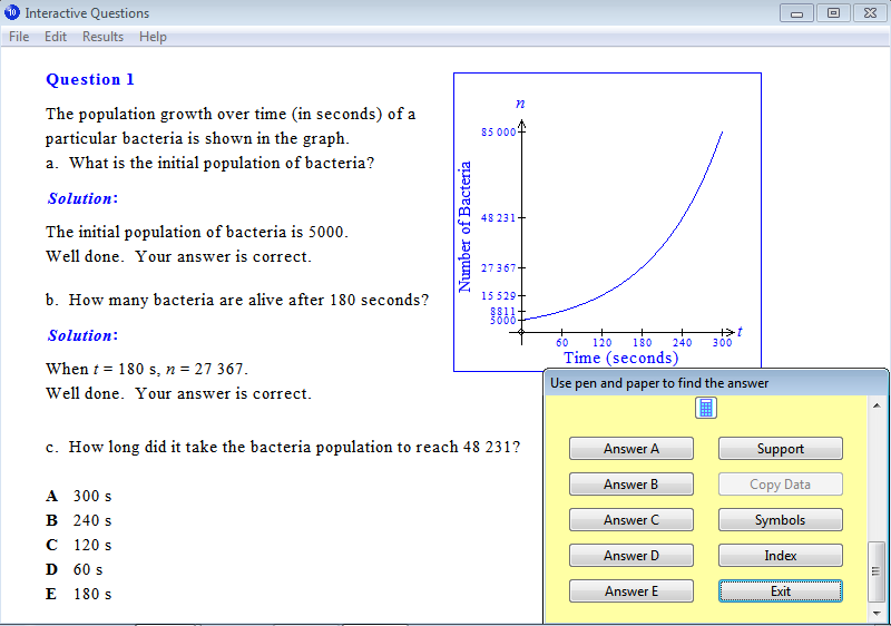 Solution for a question from Year 10 Interactive Maths, Chapter 8: Indices, Exercise 26: Exponential Graphs.