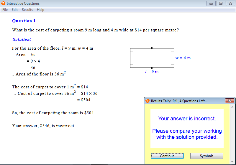 Solution for a question from Year 7 Interactive Maths, Chapter 13: Area of Plane Figures, Exercise 7: Problem Solving.