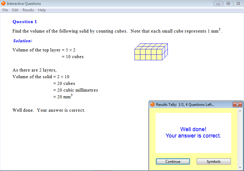 Solution for a question from Year 7 Interactive Maths, Chapter 14: Volume, Exercise 1: Finding Volume by Counting the Number of Cubes.