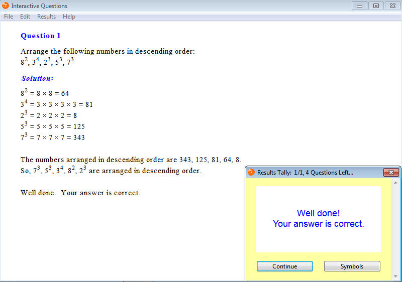 Solution for a question from Year 7 Interactive Maths, Chapter 2: Powers and Roots, Exercise 13: Descending Order.
