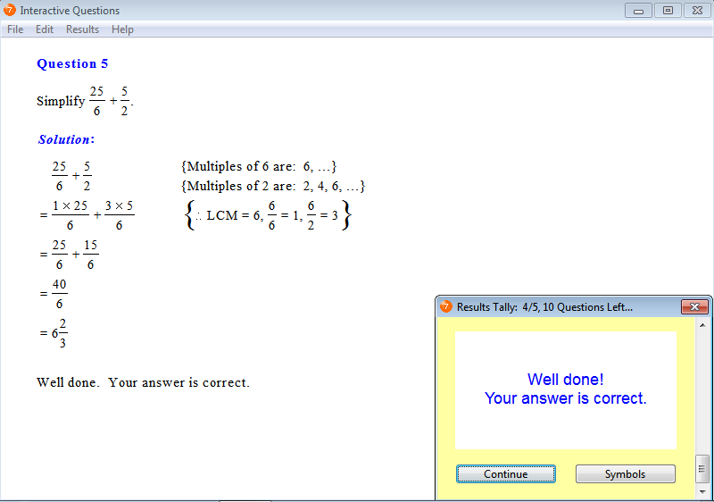 Solution for a question from Year 7 Interactive Maths, Chapter 4: Fractions, Exercise 4: Fractions Involving Addition.