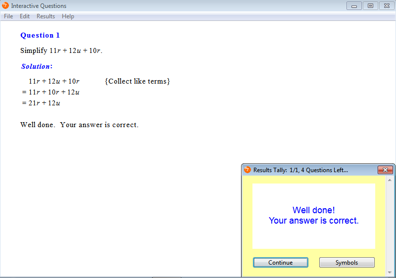 Solution for a question from Year 7 Interactive Maths, Chapter 5: Algebra, Exercise 12: Addition and Subtraction of Like Terms.