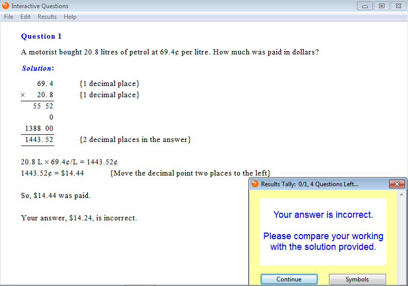 Solution for a question from Year 7 Interactive Maths, Chapter 6: Decimals, Exercise 15: Problem Solving.