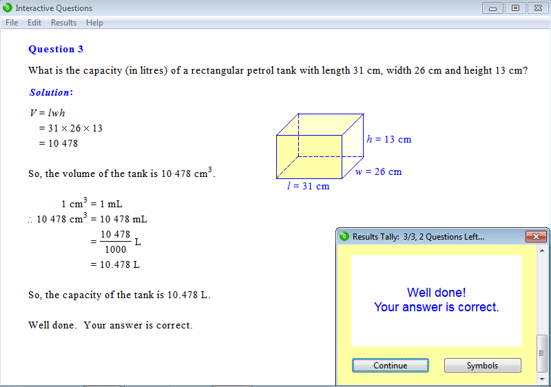 Solution for a question from Year 8 Interactive Maths, Chapter 13: Volume, Exercise 11: Capacity.