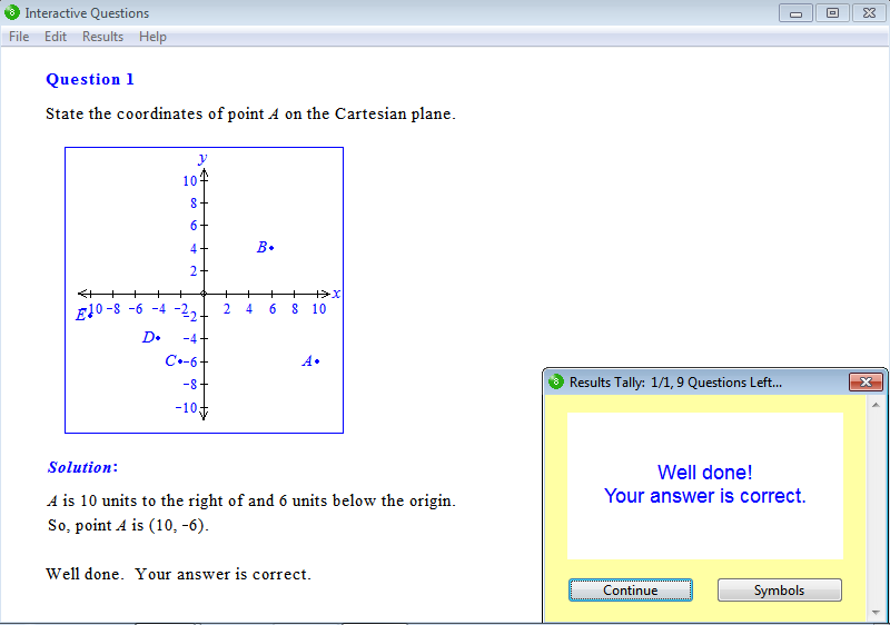 Solution for a question from Year 8 Interactive Maths, Chapter 15: Linear Graphs, Exercise 1: The Cartesian Plane.
