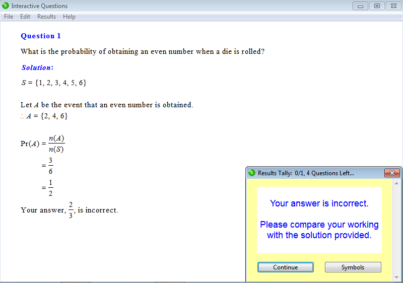 Solution for a question from Year 8 Interactive Maths, Chapter 16: Probability, Exercise 3: Probability.