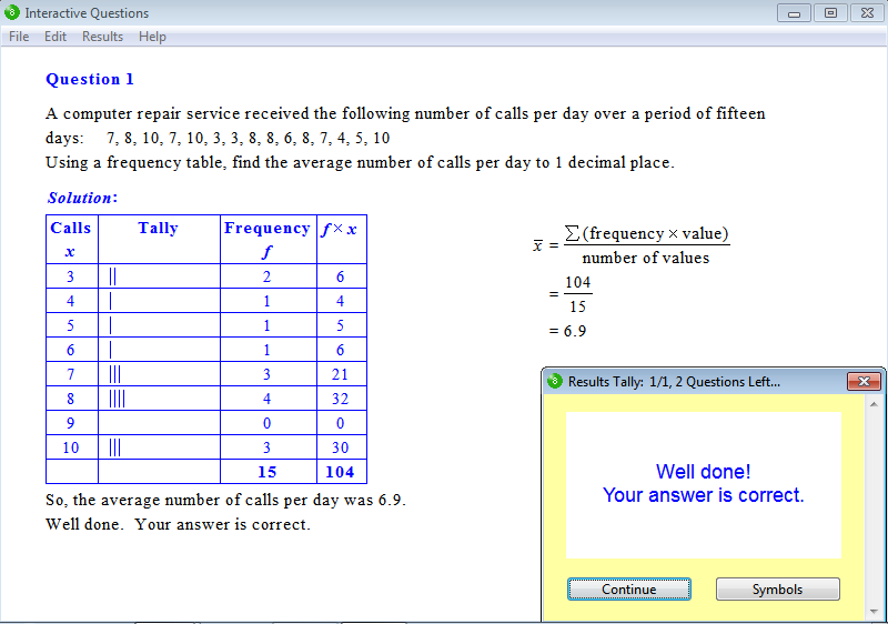 Solution for a question from Year 8 Interactive Maths, Chapter 17: Statistics, Exercise 4: Frequency Tables and the Mean.
