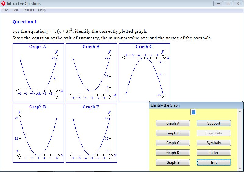 Question from Year 9 Interactive Maths, Chapter 10: Quadratic Equations and Graphs, Exercise 19: Graphs of y = a(x - b)², a > 0.