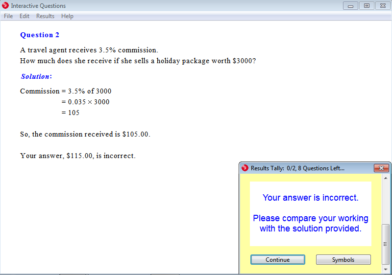 Solution for a question from Year 9 Interactive Maths, Chapter 12: Consumer Arithmetic, Exercise 21: Commission.