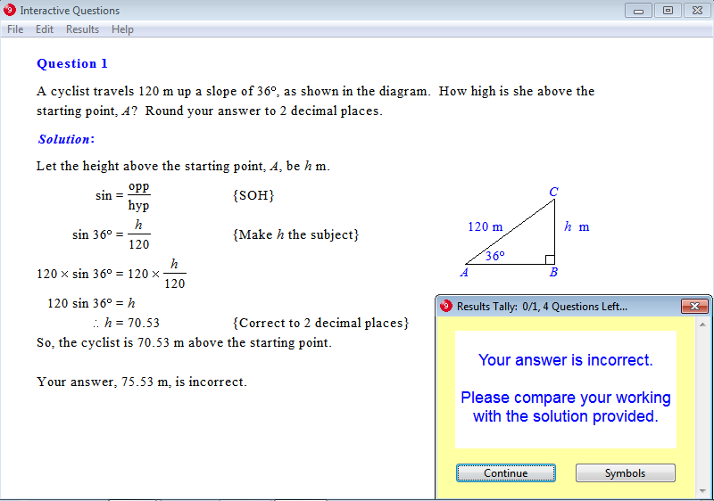 Solution for a question from Year 9 Interactive Maths, Chapter 15: Trigonometry, Exercise 17: Slope Problems.