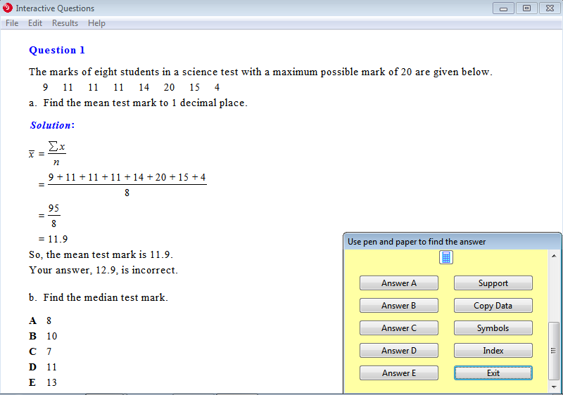 Solution for a question from Year 9 Interactive Maths, Chapter 17: Statistics, Exercise 1: Mean, Median and Mode.