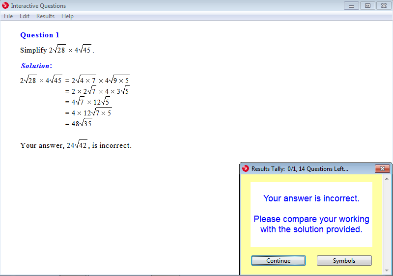 Solution for a question from Year 9 Interactive Maths, Chapter 7: Surds, Exercise 11: Multiplication of Surds.